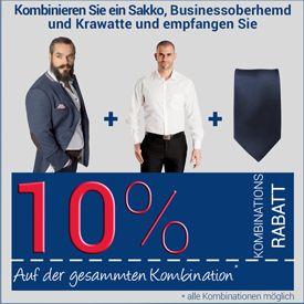 10% Rabatt auf die Kombination Sakko+Dresshemd+Krawatte
